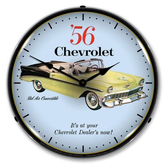 Antique Style 1956 Chevrolet Bel Air Convertible Backlit Clock 129 99 Chevrolet Bel Air Wall Clock Light Bel Air