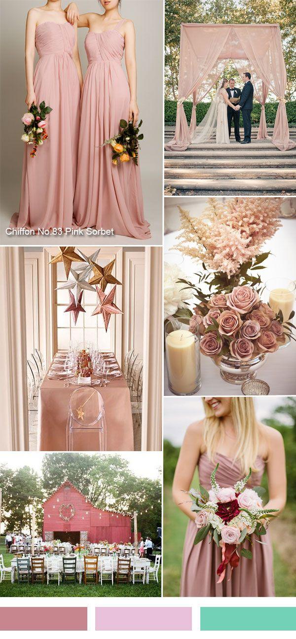 TCCMD958 pink sorbet rustic wedding ideas - pink sorbet one shoulder bridesmaid dresses