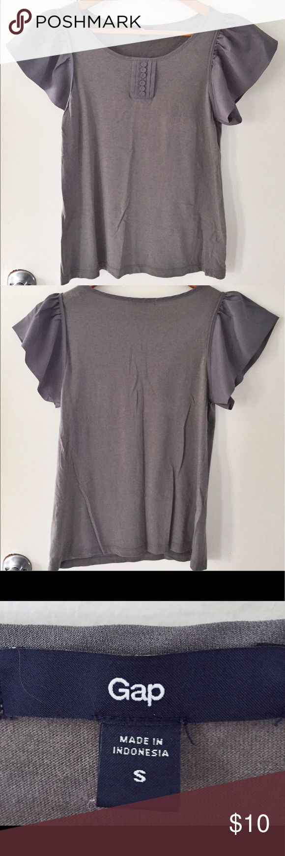 GAP women's ruffle sleeve blouse size small GAP women's grey ruffle shirt sleeve blouse. Size small. Colour grey. Perfect for work or a night out. GAP Tops Blouses