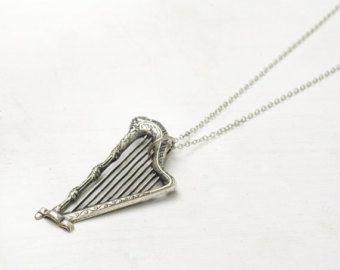 Harp necklace antique silver finish vintage style long retro renaissance music pendant musician