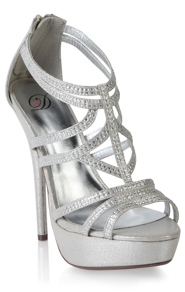 open toe metallic silver strappy high heel  $44.50