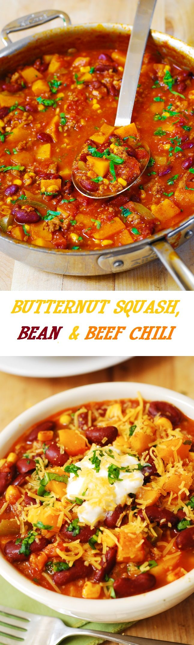 Drop the meat and this sounds great! Delicious Butternut Squash, Bean, and Beef Chili. Healthy, filling, and gluten free - it makes a great dinner for everyone!   Top it with Greek yogurt!  #soup #stew