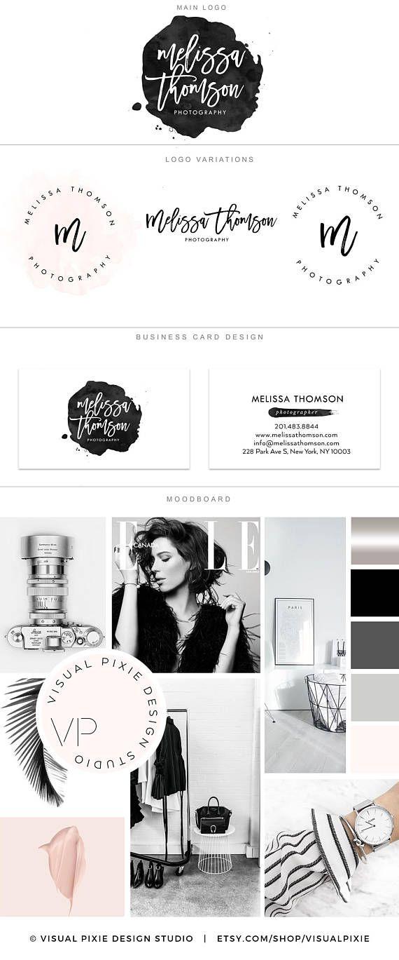 Paquet de marque Premium  aquarelle noir  photographie Logo