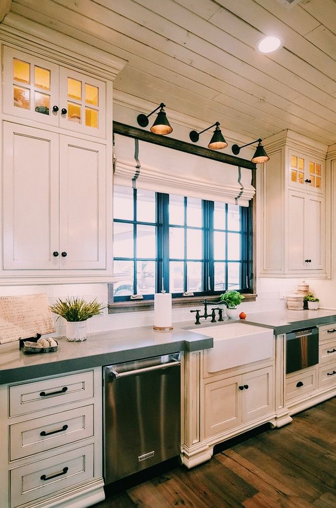 39 Big Kitchen Interior Design Ideas For A Unique Kitchen: Farmhouse Sink, Antique White Cabinets, Concrete
