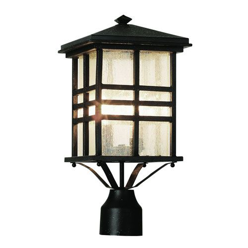 Craftsman Dark Bronze 16-Inch Post Top Lantern with Clear Seeded Rectangle Glass - (In WB-Weathered Bronze)