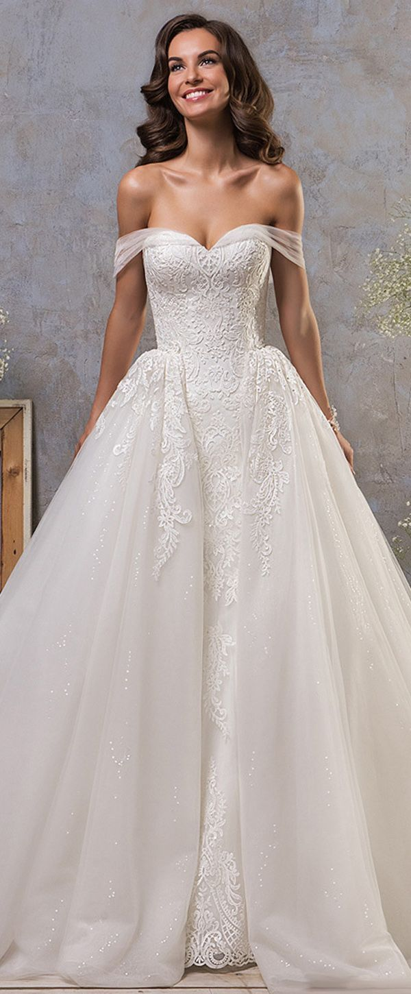 Stunning Tulle Off-the-shoulder Neckline 2 In 1 Wedding Dress With Lace Appliques & Detachable Skirt