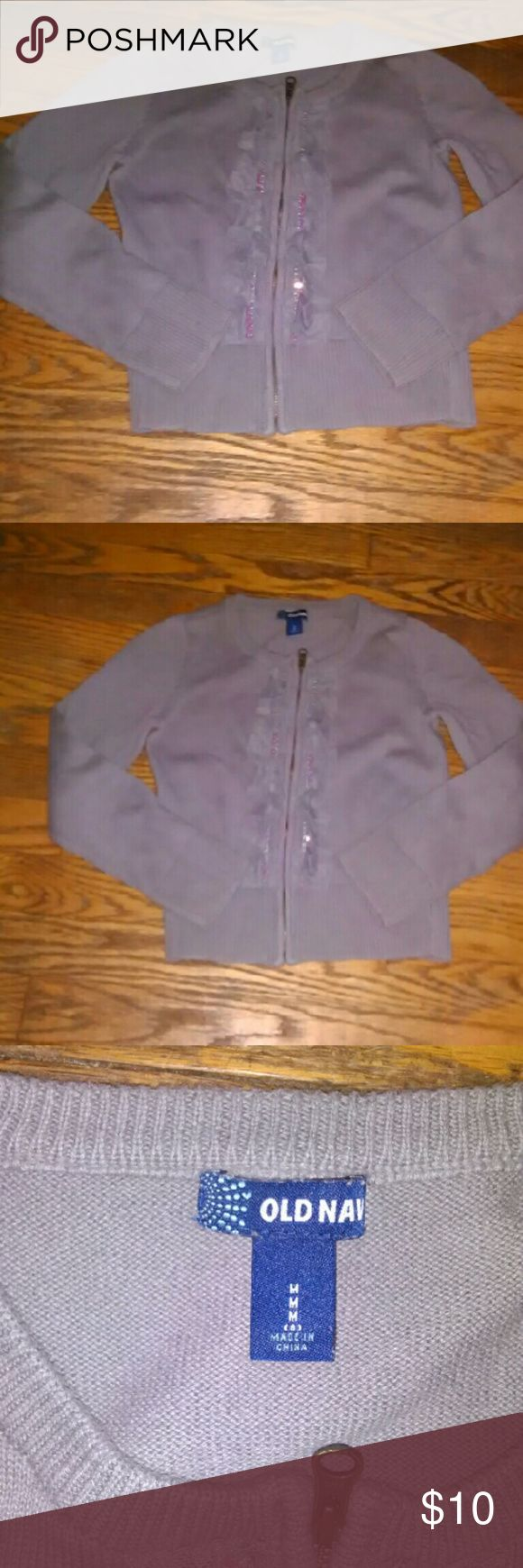 Girls Old Navy zip up cardigan Girls size 8, cute ruffles down the front,EUC. The cardigan is gray, but has a hint of purple in it. Old Navy Shirts & Tops Sweaters