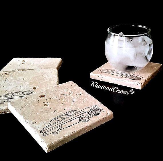 Classic Car Coaster Set – Gift for Dad – Boyfriend Gift – Groomsmen Gift – Handmade Coasters – Birth