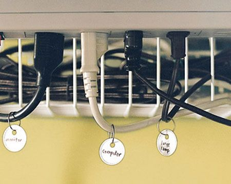 Keep electronics cords untangled. Feed them through a hole in the desktop, so you can plug them into a surge protector mounted to the underside of the desk. Keep the cords in a wire basket that's suspended under the desk with wire hooks. Use tags to identify each wire.
