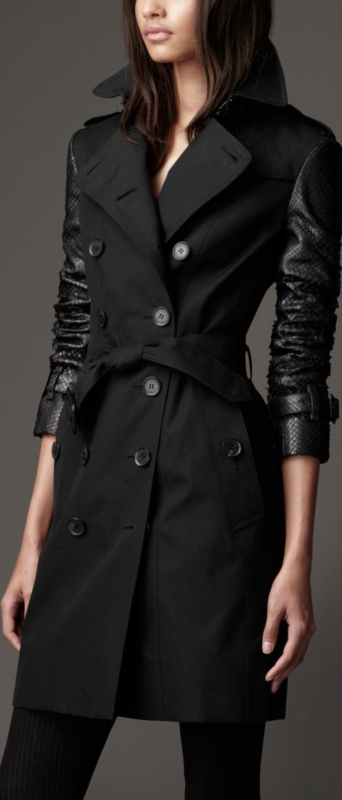 My jacket dream! Love leather sleeves! Need this trench now!