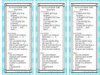 Accountable Talk bookmarks from arockytopteacher.blogspot.com
