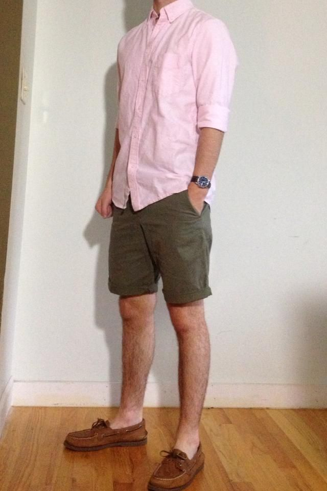 Shop this look for $123:  http://lookastic.com/men/looks/pink-longsleeve-shirt-and-olive-shorts-and-brown-leather-boat-shoes/2125  — Pink Longsleeve Shirt  — Olive Shorts  — Brown Leather Boat Shoes
