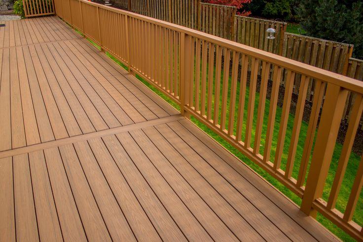 PVC Deck with Cedar Handrail - and a Cedar Good-Neighbor Style Fence in the background