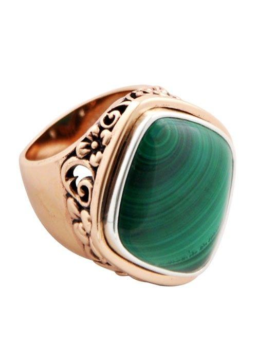Malachite and Copper Signet Ring