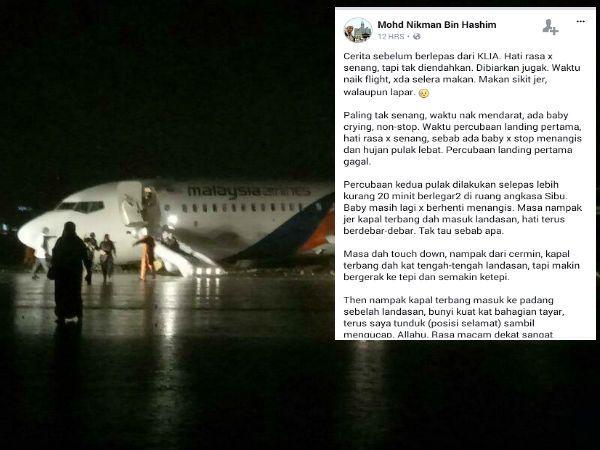Penumpang Cerita Detik Pesawat MAS Mendarat Cemas Di Sibu