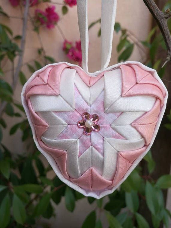Girl's nursery decor quilted decorative heart quilted
