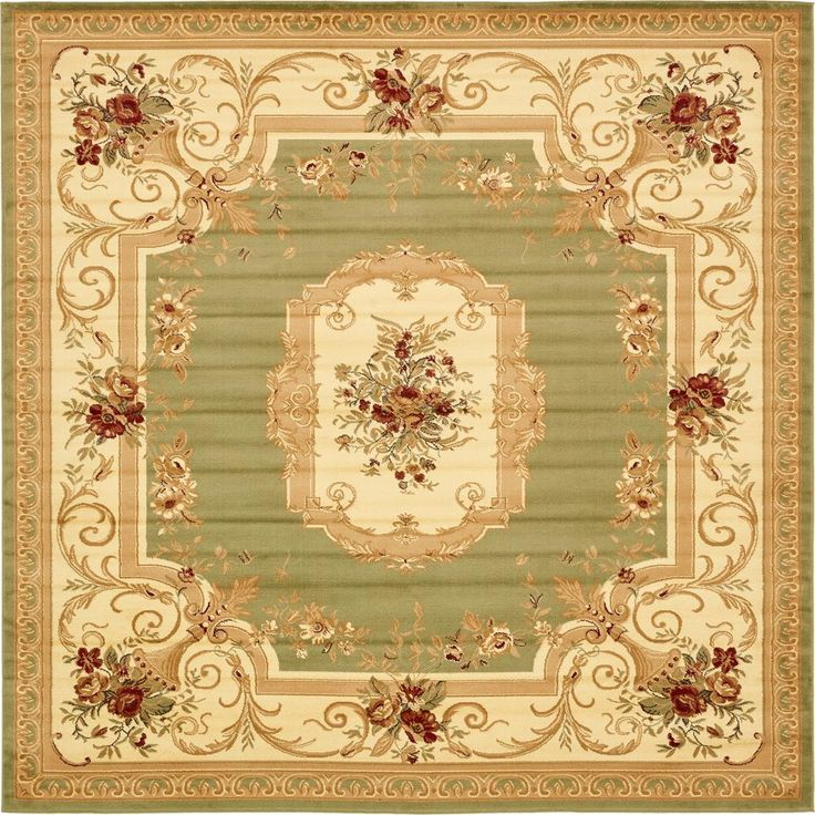 Beautiful 10 Foot Square Rug Part - 8: Traditional Versailles Green 10 Ft. X 10 Ft. Square Rug