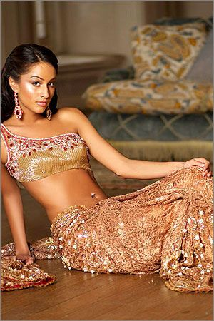 Sequined Saree & Choli Blouse, with matching Earrings