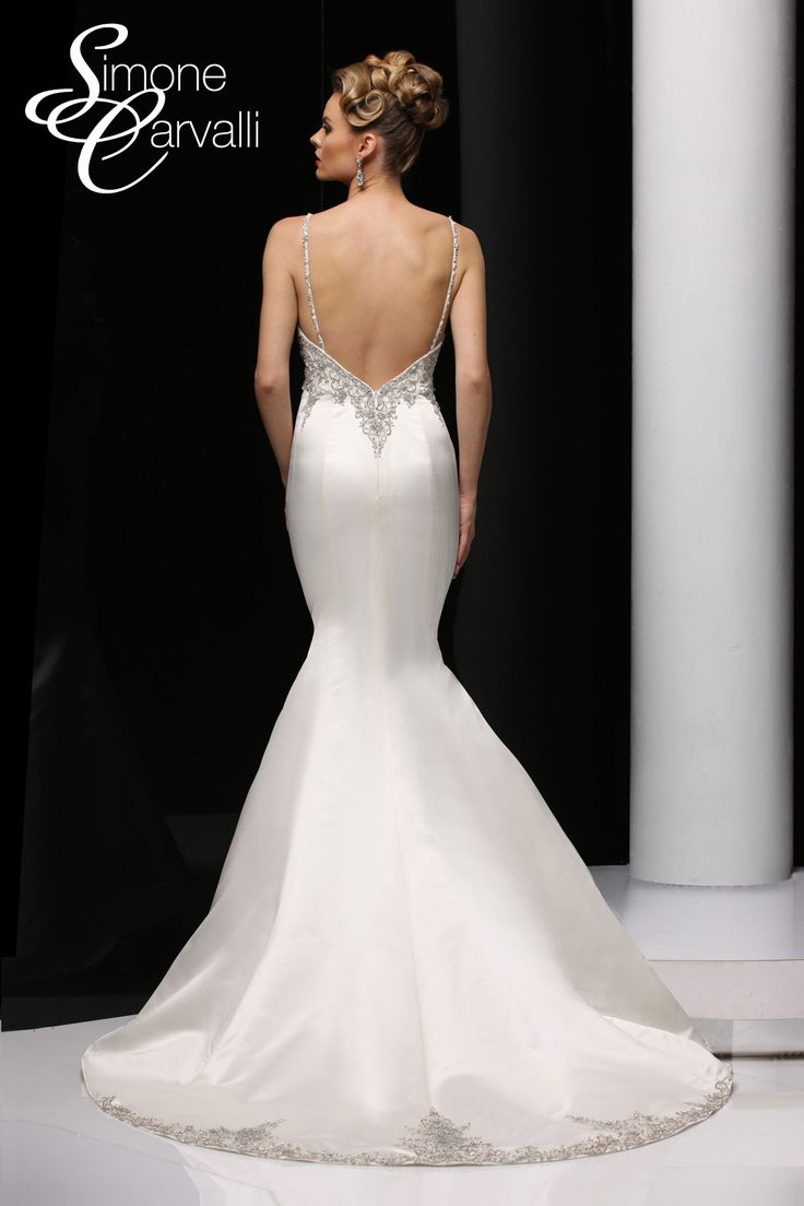 Simone Carvalli wedding gown - mikado trumpet silhouette gown with beaded bodice and spaghetti straps.