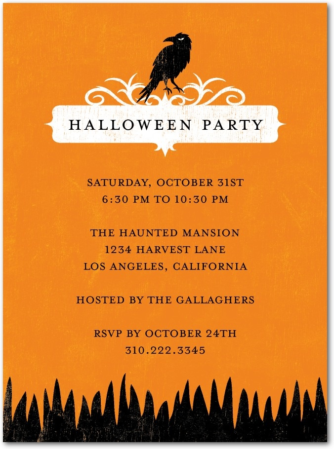 ravin raven halloween party invitations with square corners embrace the traditionalism of the holiday with this eerie halloween party invitation - Raven Halloween Decorations