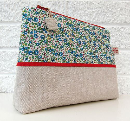 liberty and linen fabric pouch