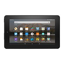 "Buy New Amazon Fire 7 Tablet, Quad-core, Fire OS, 7"", Wi-Fi, 8GB, Black Online at johnlewis.com"