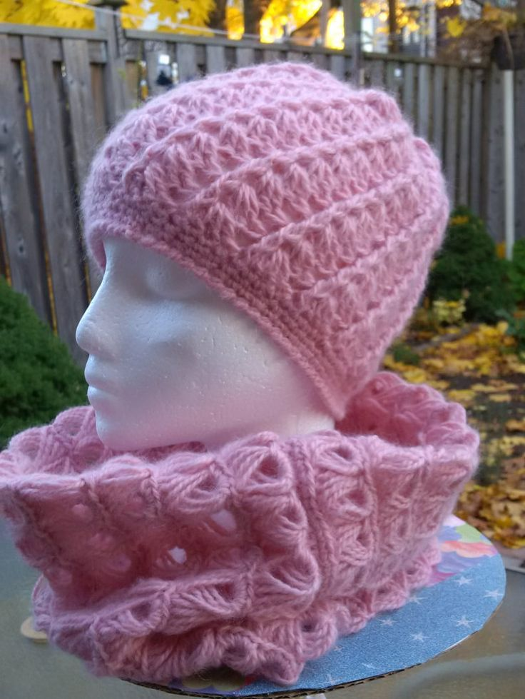 A  very nice, soft set of Winter Scarf and Beanie Hat-Handmade Crochet-Made with Mohair Yarn. by KlermiCrochet on Etsy