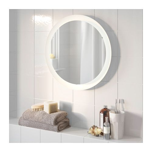 STORJORM Mirror with built-in lighting, white white 18 1/2 this would be great in entryway