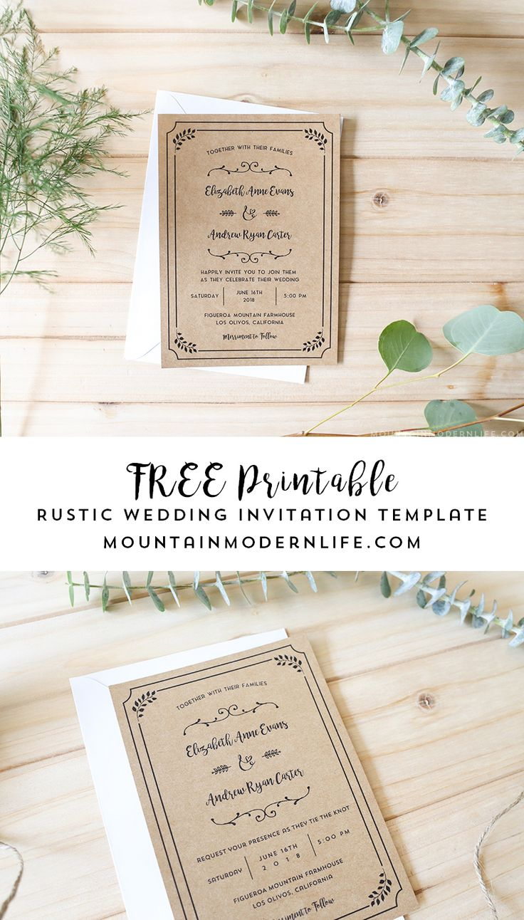 Planning a rustic wedding? Download this FREE Printable Wedding Invitation Template, add your personalized details, and print as many copies as you need! MountainModernLife.com via @MtnModernLife