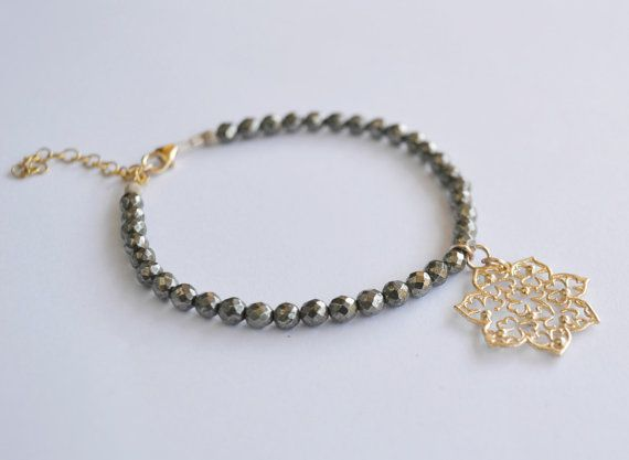 Gold flower bracelet, pyrite bracelet, Filigree flower, gemstone bracelet, friendship bracelet, gift for her.