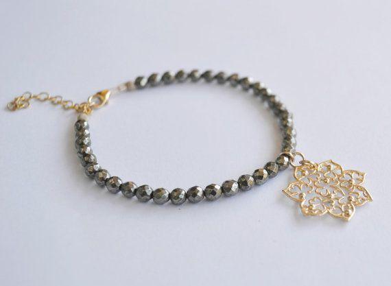 Gold flower bracelet, pyrite bracelet, Filigree flower, gemstone bracelet, friendship bracelet, gift for her.