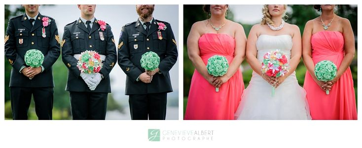 Green and coral wedding Mariage Militaire / Military Wedding –  By Genevieve Albert Photographe
