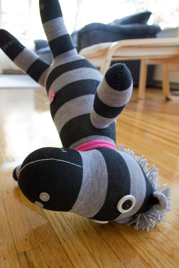 Sock Animal Licorice  Black & Gray Striped Plush