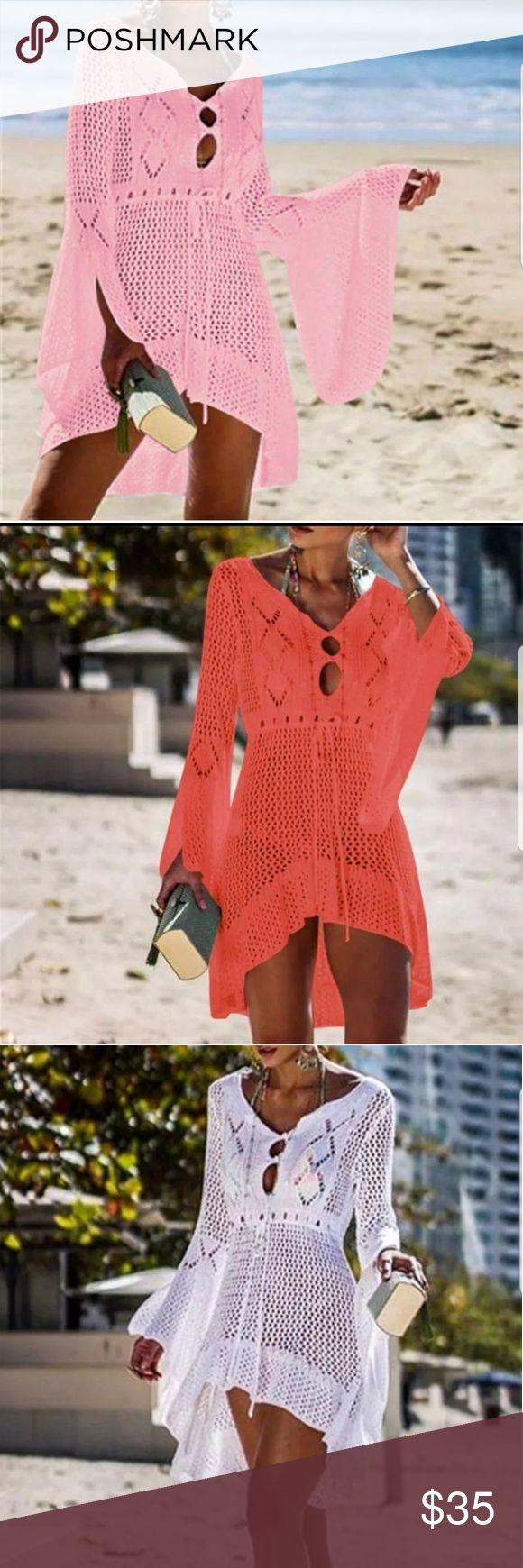 High Quality Crochet Knitted Beach Dress Pink Summer Women Beachwear Sexy Pink C... 3