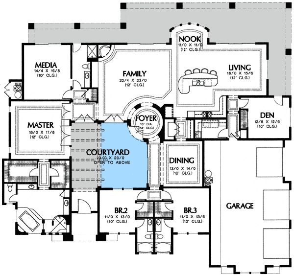courtyard house plans u shaped homes l pool