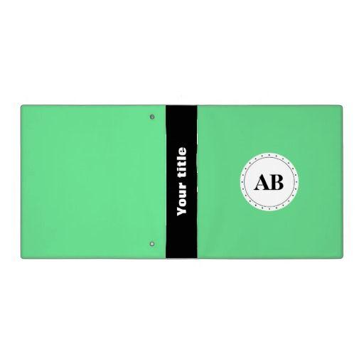 Emerald green solid color with monogram binders