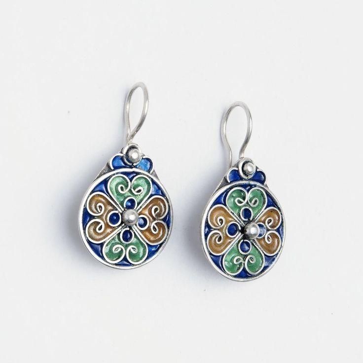 Cercei rotunzi Zaida, argint și email, Maroc  #metaphora #morocco #silverjewellery #silverjewelry #earrings #enamel