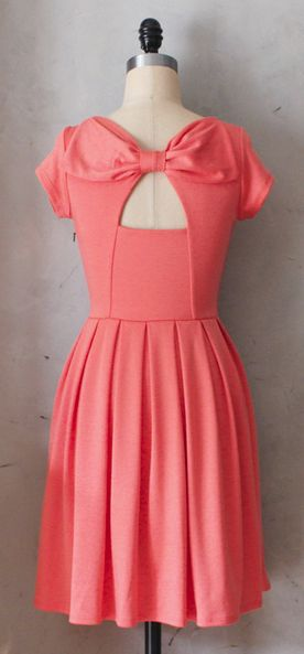 Bow back coral dress