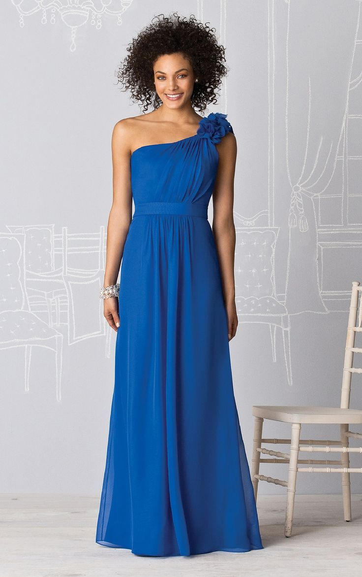 Royal blue chiffon one shoulder bridesmaid dresses with side split - One Shoulder Chiffon Natural Floor Length A Line Bridesmaid Dresses