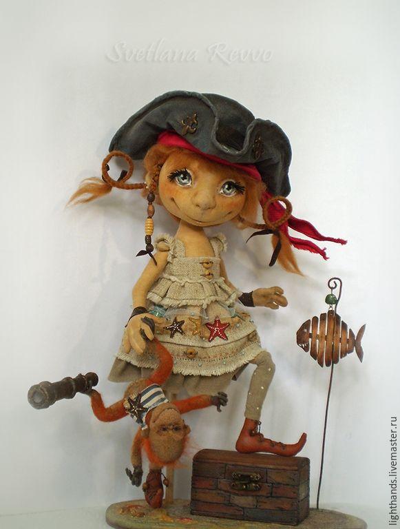Купить Дженни и мистер Рик. Коллекционная кукла - рыжий, кукла текстильная, пират, обезьянка, треуголка