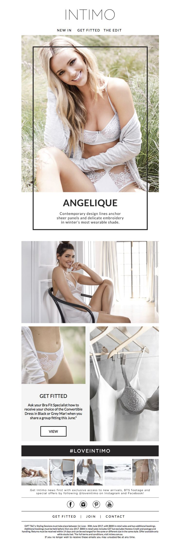 Intimo Lingerie: Intimo VIP Email. Introducing the Angelique Collection. www.intimo.com.au