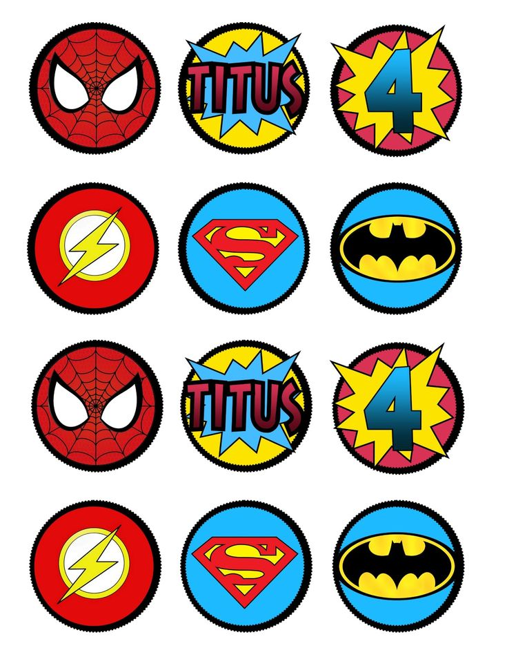 Super Hero cupcake toppers or decorations by Lots O' Lydia Free Printable
