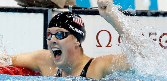 American Schmitt wins gold in 200 free in Olympic-record time.  Allison Schmitt reacts to her gold-medal victory.