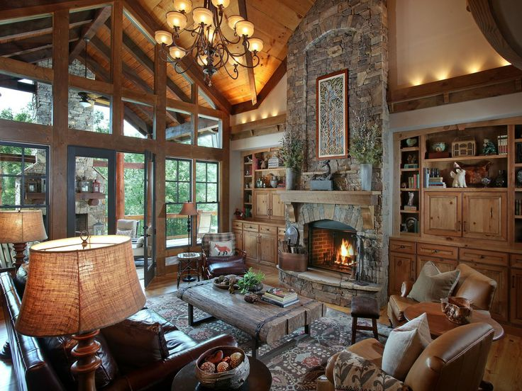1000 images about lodge style great rooms on pinterest for Lodge style fireplace ideas