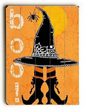 Boo! Halloween Wood Sign This Boo! Halloween wood sign by Artist Jill Meyer is a fun and colorful addition to your Halloween decor. The sign is a hand distressed planked wood design made of birch wood