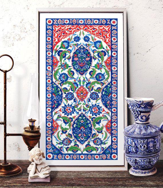 Turkish Ornament Tile Watercolor Art Ottoman Iznik by HermesArts