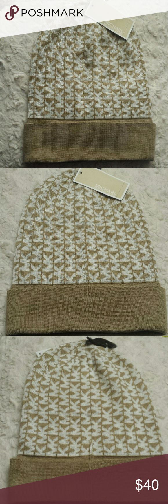 Michael Kors NWT Signature Camel /Cream Beanie Hat Micheal Kors NWT Signature Camel and Cream Beanie hat, one size fits most , double fold cuffed hem, acrylic material, hand wash, Authentic see tags Micheal Kors Accessories Hats