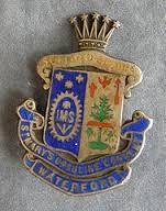 Enamel Irish School badge - St. Mary's Ursuline Convent, Waterford silver badge (1920's)