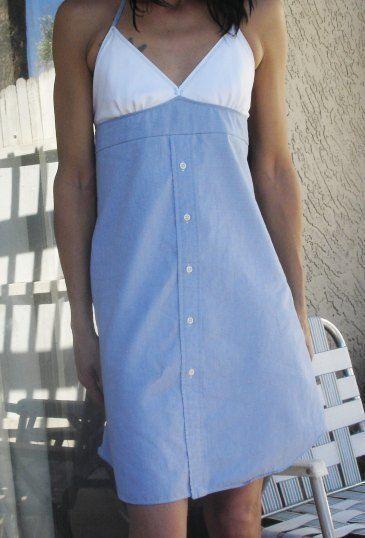 Dress from men's shirt
