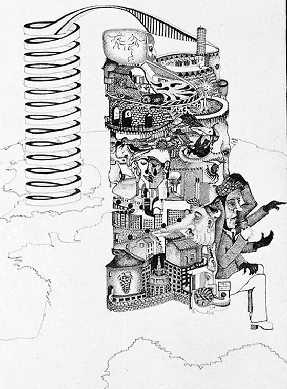 """1975. Memores of a Ttip i had i had in the South of France, I added the Spiral AFTER I Returned to Britaib, about 2 years later a Fellow artist, said i should call it """"DNA CITY"""" so i did, in 1977."""